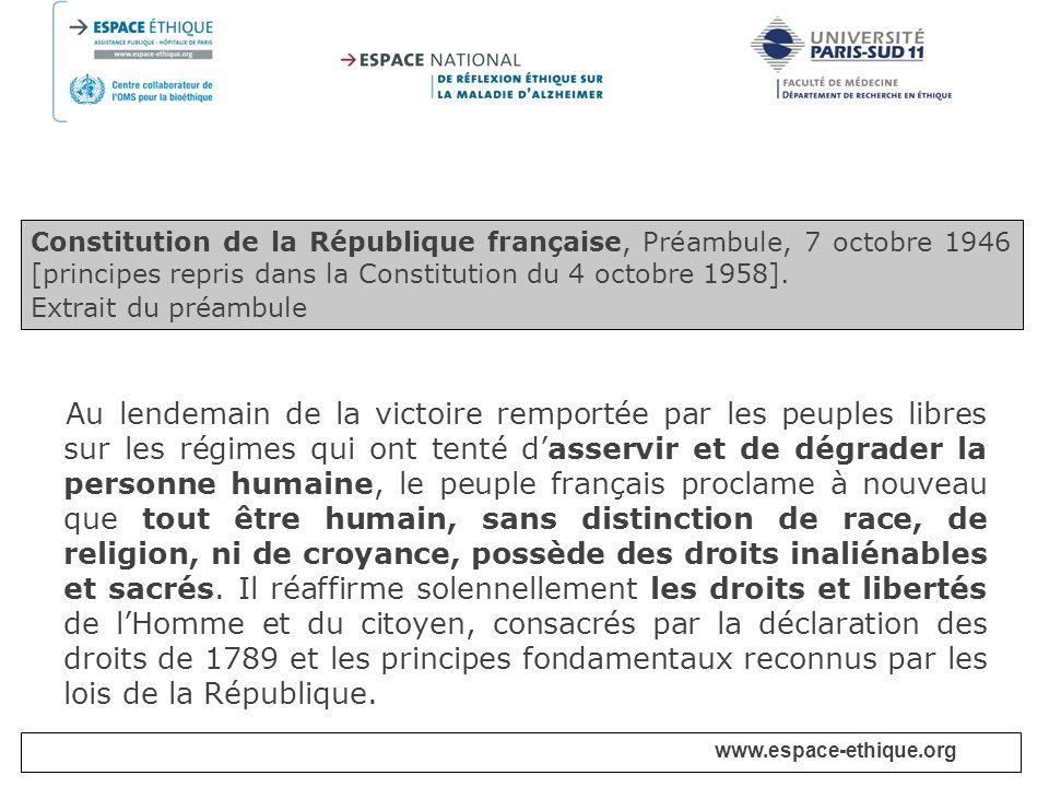 Constitution de la République française, Préambule, 7 octobre 1946 [principes repris dans la Constitution du 4 octobre 1958].